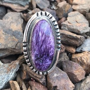 Chimney Butte Sterling Silver Charoite Ring Sz 7.5